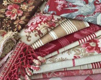 Antique / Vintage  French  Bagged Fabric Bundles  for projects  Sewing Crafts