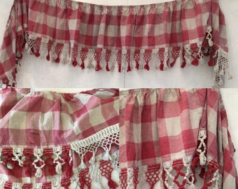 Antique French Vichy Red Check Valance Cotton Rustic Shabby Chic  Early 19th C.