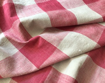 Antique French Vichy Buffalo Check Fabric Pink Red Early 19th Century shabby chic