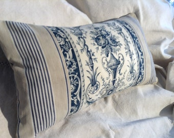 Antique French Toile ticking Pillow 19th