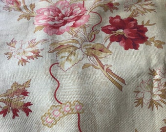 Antique French Cotton Fabric 19th Floral Bouquet Shabby Chic  Home Decor