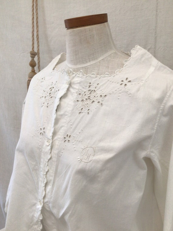 Antique French Hand Embroidered  blouse  Cotton S… - image 4