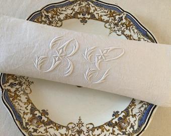 Lovely Antique French Damask Linen  Napkins Set of 12 Monogram BG