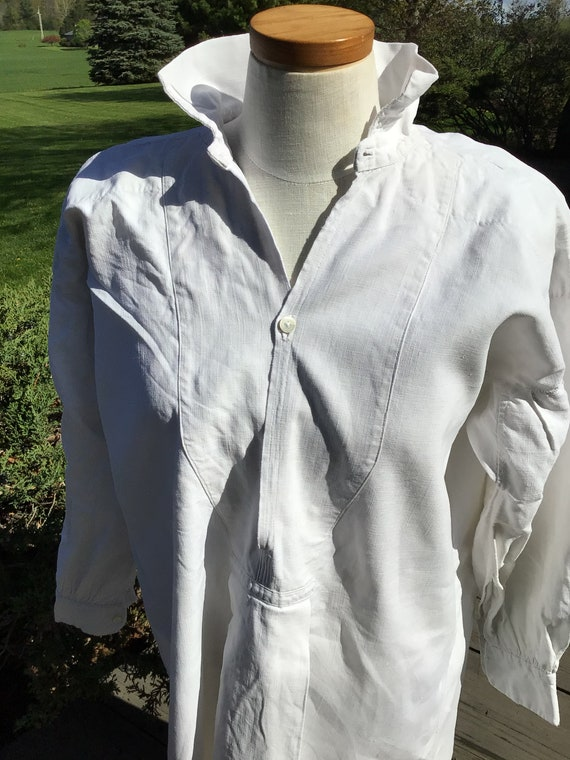 Fabulous  Antique / Vintage French Mens Linen Shir