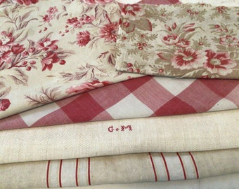 Antique Vintage French Fabrics Coordinated Bundle For Projects Floral  Stripes