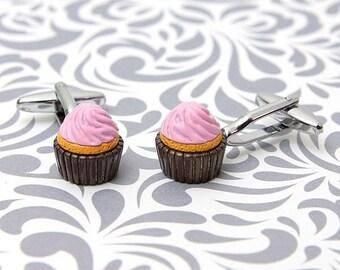 Chocolate Cufflinks Pair Lifetime Guarantee S0543 Chocolate Lover Gift Cufflinks Dessert Cufflinks Chocolate Cupcake Cufflinks
