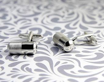 ON SALE Capsule Pill Cufflinks Safe Secret Present Medicine