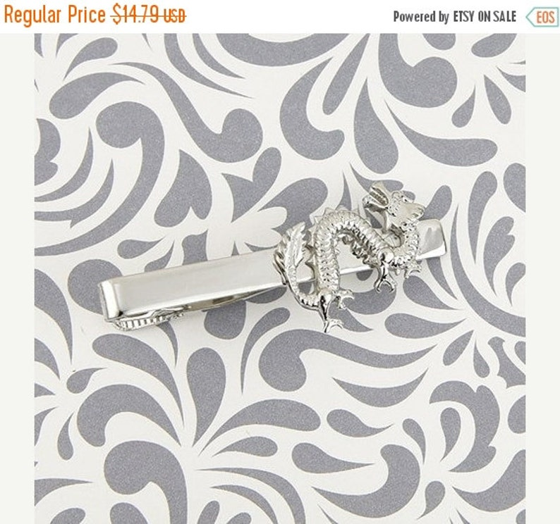 ON SALE Chinese Dragon Tie Clip Bar Clasp Asian Good Luck Strength