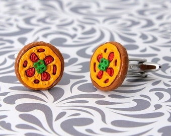 Pizza Cufflinks Snack Food Pepperoni Cook