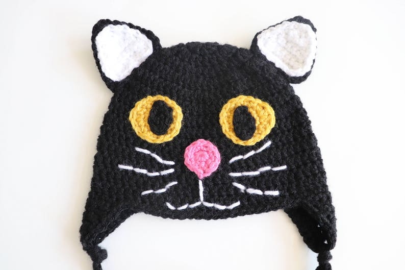Black Cat Hat Kids Cat Hat Black Kitty Hat Halloween Cat Etsy