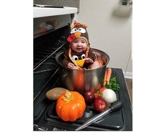 Baby Turkey Hat, Turkey Photo Prop, Turkey Trot Hat, Thanksgiving Day Hats, Baby's 1st Thanksgiving Hat, Newborn, Infant, Toddler Sizes