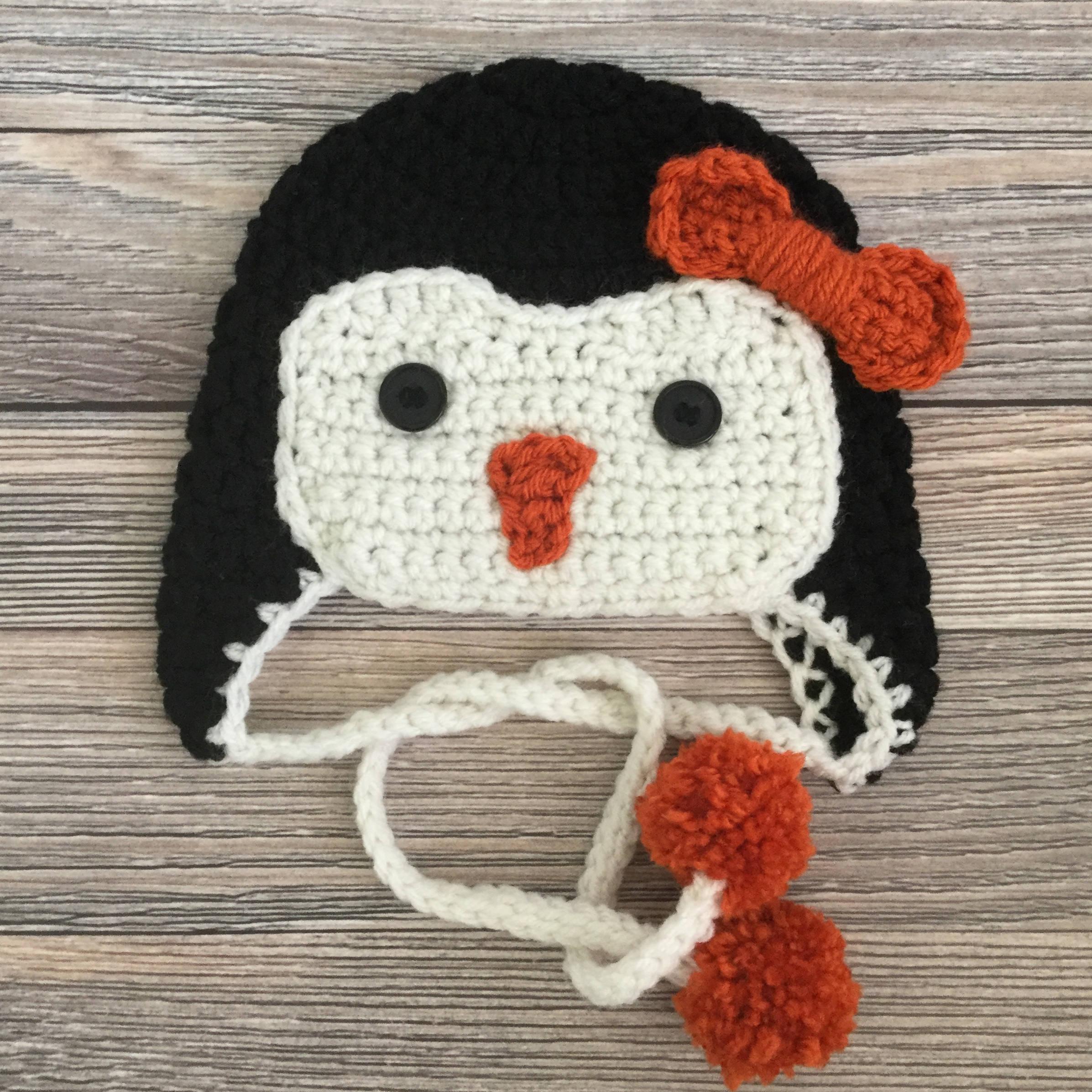 Penguin Hat Baby Penguin Hat Girl Baby Hat Crochet Hat Etsy