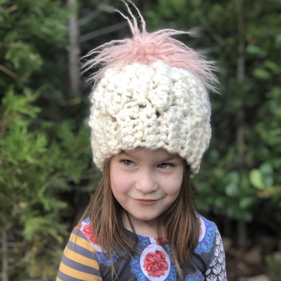 71ef688a939 Super Chunky Pom Hat For Toddler Kids Chunky Pom Hat Girls