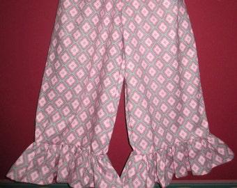 Handmade Girl Ruffled Pants - Pinkie Also - Size 4