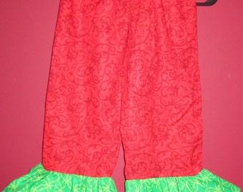 Handmade Girl Ruffled Pants - Christmas Times Coming - Size 4