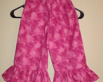 Handmade Girl Ruffled Pants - Pretty in Pink Size 3/4