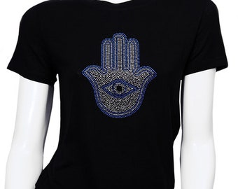 2493fb29f3f2ec Hamsa T-Shirt Cotton hamsa evil eye t shirt with rhinestone worn by  celebrities.