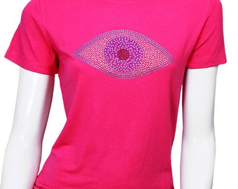 866a8c4a4e1f71 Evil Eye T-Shirt Cotton evil eye t shirt with rhinestone worn by  celebrities.