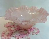 Vintage Pink Cased Glass Ruffle Top Bowl 9