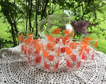 Vintage Orange Tomato Pattern Juice Pitcher and 5 Glasses 1950's