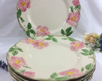 """6- Franciscan Earthenware """" Desert Rose"""" Dinner Plates 10 1/2"""" Black And Brown TV Stamp Interpace 1960's USA!!!"""