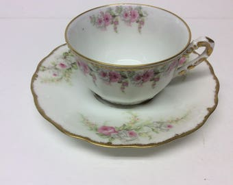 Vintage Limoges France Elite Works Tea Cup and Saucer Pink and White Roses Gold Trim