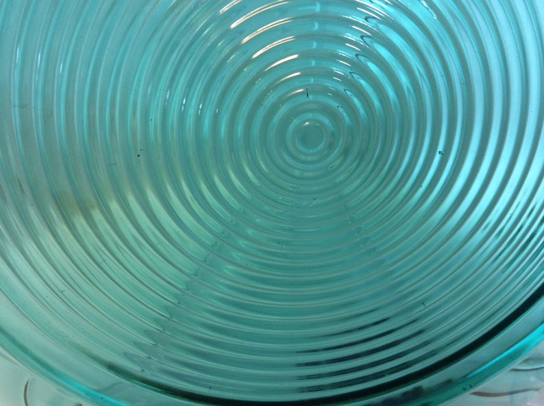 Vintage Depression Glass Jeannette Glass Co Round Chop Plate 12 34\u201d in Diameter Ultra Marine \u201c Swirl or Petal Swirl Pattern!
