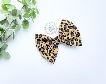 Leopard Baby Bow MEDIUM Ready to Ship Black Gray Leopard Print Leopard Print Bow Leopard Hair Bow Cheer Style