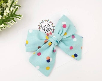 gingham bow hair bows Light pink gingham hand tied hair bow alligator clip hairbows Kate/'s Bows nylon headband spring hair bow