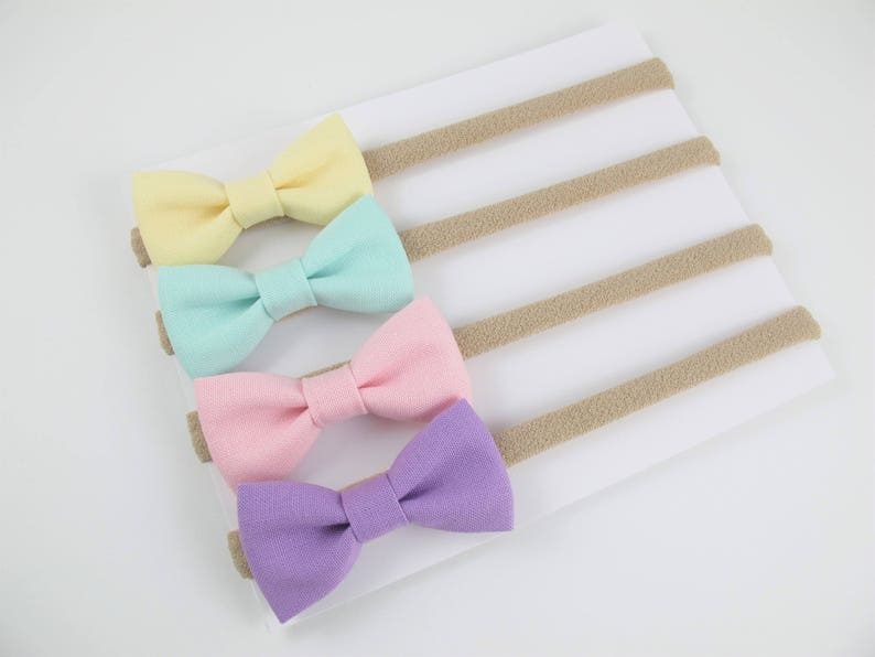 mint and pink bows Kate/'s Bows pastel bows pastel purple Set of 4 itty-bitty bows on tan nylon headbands yellow baby headband set