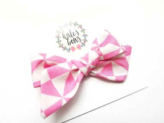 9eacd33248399 Bright Pink and White hand tied   pinwheel style bow fabric