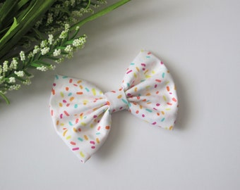 White with Sprinkles Hair Bow | Choose Clip or Nylon Headband | Birthday Party Hairbow | Birthday Bow | Sprinkles