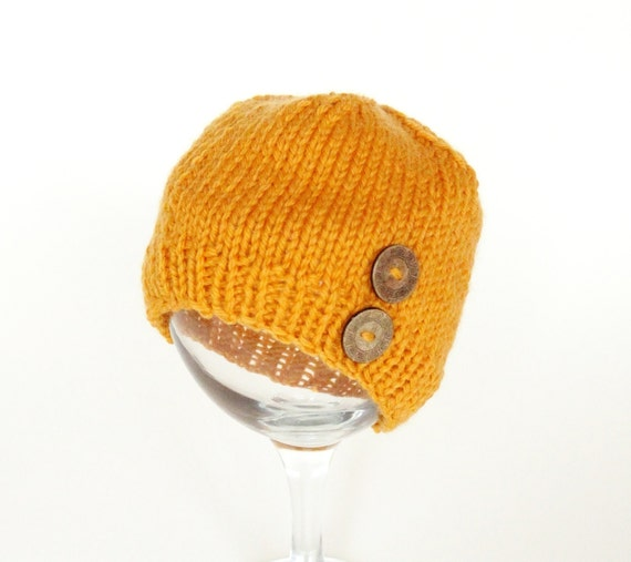Mustard Baby Hat with Button Yellow Baby Hat Mustard Newborn  0c587e7e238