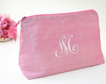 Monogrammed Cosmetic Bag~ Bridesmaid Gift~ Silk Clutch~ Personalized Makeup  Bag~ Pink Makeup Bag~ Travel Gift for Women 00592aa8d589d