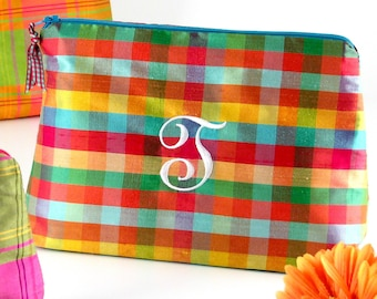 6a533b9c5cfe Personalized Plaid Silk Cosmetic Bag    Plaid Clutch    Silk Plaid Makeup  Bag    Monogrammed Cosmetic Bag    Travel Gift for Her