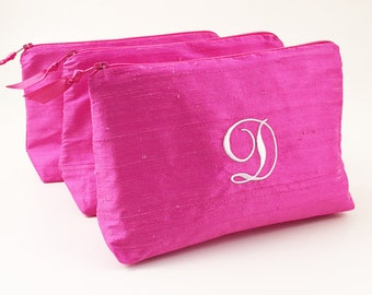 Personalized Cosmetic Bag ~ Bridesmaid Makeup Bag ~ Bridal Shower Gift ~ Personalized  Makeup Bag ~ Bridesmaid Gift ~ Hot Pink Silk Bag 678f76a24bfd5