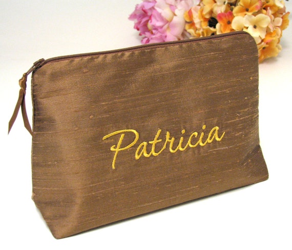 Personalized Silk Cosmetic Bag    Embroidered Name Bag    Bridesmaid Silk  Clutch    Personalized Makeup Bag    Gifts for Her d03e6dcb5f747