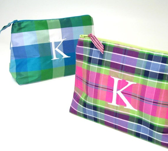 Personalized Plaid Silk Makeup Bag    Monogrammed Clutch  fce022aac2d16