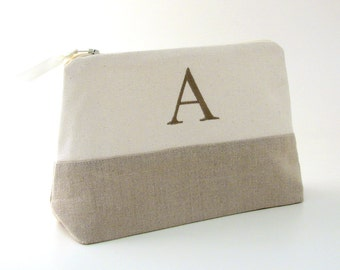 Personalized Linen Makeup Bag~ Linen Clutch~ Monogrammed Cosmetic Bag~ Bridesmaid Makeup Bag~ Makeup Bag with Initials~ Travel Gift for Her