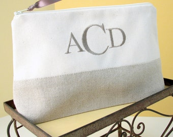 Monogrammed Makeup Bag, Bridesmaid Clutch, Monogram Cosmetic Bag, Personalized Linen Makeup Bag Patched, Gift for Her, Made in America Gift