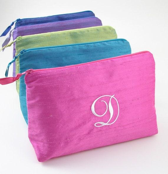 Personalized Cosmetic Bag Bridesmaid Makeup Bag Silk  aa4888e6ba9d8
