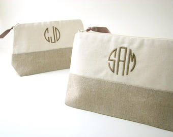 Monogrammed Makeup Bag in Patched Linen // Linen Clutch // Monogrammed Cosmetic Bag //  Linen Makeup Bag // Gifts for Her // Travel Gift