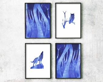 art prints, blue art prints watercolour art set, prints