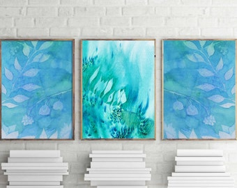 Teal wall art Home Decor watercolor wall decor teal watercolor prints nature wall art nature prints set of 3 watercolor prints wall decor