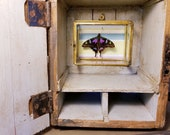 Purple Spotted Swallowtail Butterfly in a Wood Box Brass Glass Box Grey Handpainted Dovetailed Carved Initials
