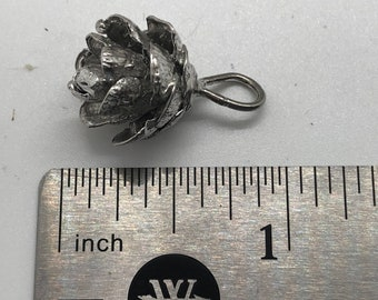 """Hemlock Cone pendant, SS, """"small open cone"""" cast from real hemlock cone using the lost wax casting process. No two are exactly alike."""