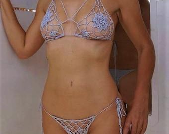 982e06e42e6 Crochet Bikini, Extreme Micro Bikini, Violet, Sexy Bikini, Erotic Bikini,  Beach Bikini, Festival Bikini, Stripper Outfit, Brazilian Bikini