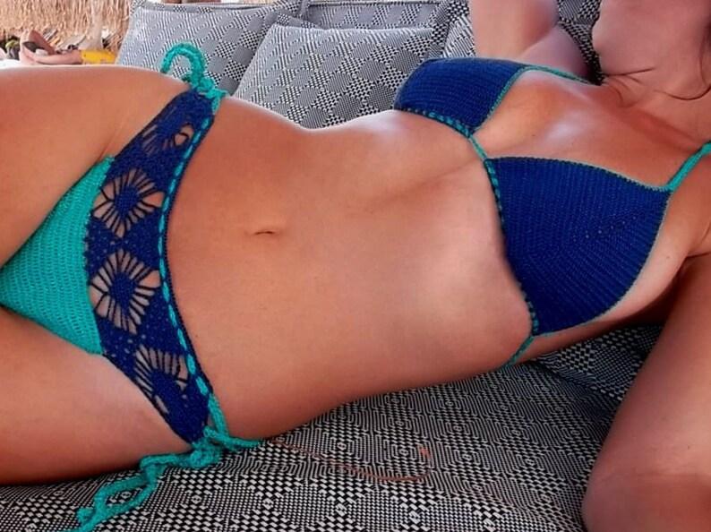 b67e7e3d455eb Cobalt Blue Crochet Swimsuit Blue Bikini Women Swimwear | Etsy