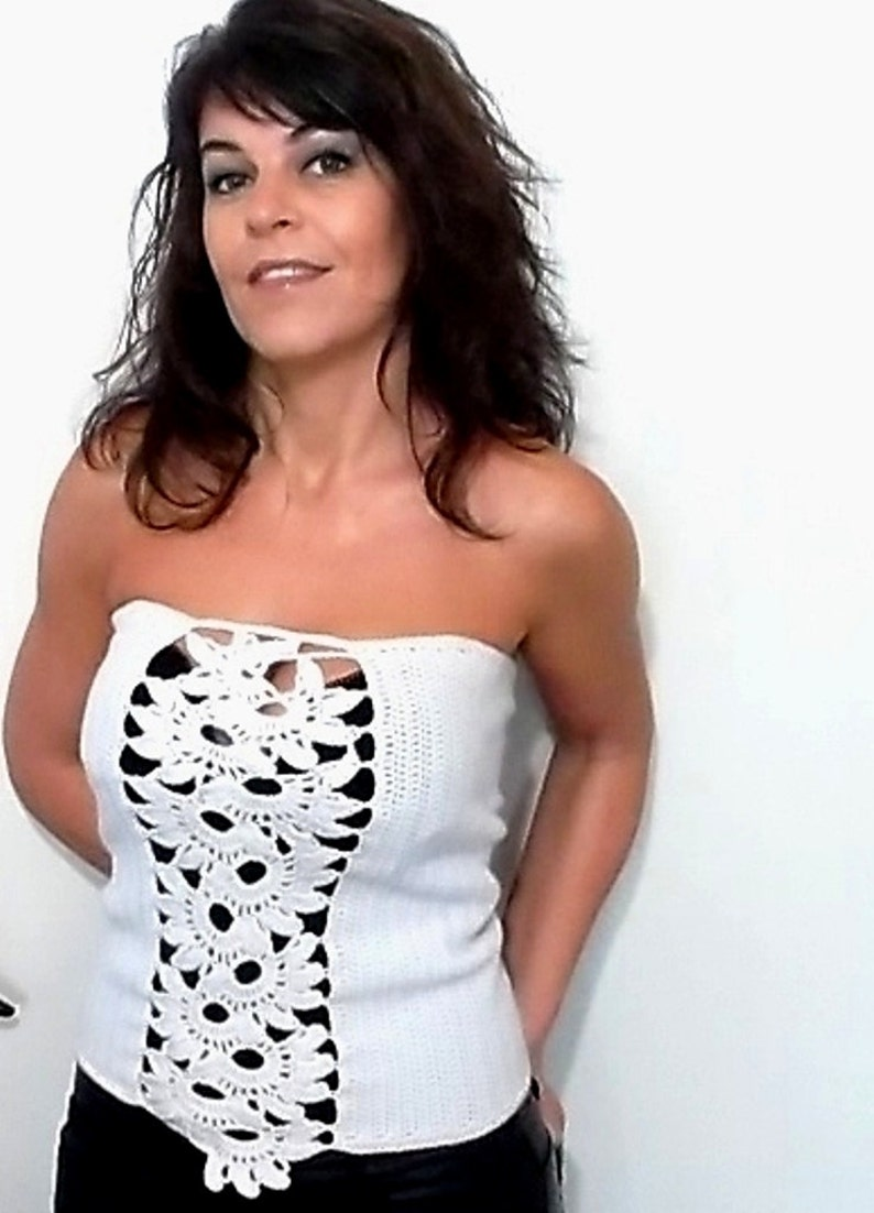 242493048faaa White Crochet Top Lace Top Women Corset Lace Clothing Boho