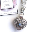 Moonstone or Turquoise Heart Locket Necklace